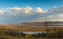 Autumn is a beautiful view of the river Amur Khabarovsk region of the Russian Far East. Meandering rivers by name Amur Khabarovsk. Region of the Russian Far stock image