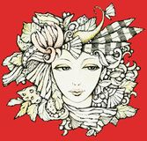 Autumn. Beautiful woman in a wreath of fictional leaves,flowers,feathers personifying of autumn.Design for poster, t-shirt, pillow, cushion print vector illustration