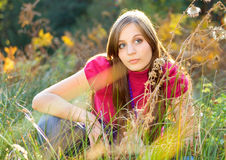 Autumn beauty 12. Beautiful girl in a autumn-meadow Royalty Free Stock Images