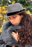Autumn BEAUTY. Girl with hat and coat, blue eyes Royalty Free Stock Images