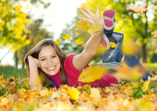 Autumn beauty 5. Cute girl enjoying an autumn day Stock Photo