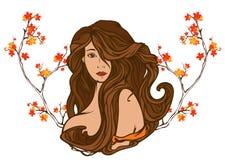 Autumn beauty vector. Art nouveau style autumn beauty portrait among bright foliage stock illustration