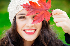 Autumn beauty with red leaf Royalty Free Stock Photography