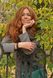 Autumn Beauty smiling redheaded woman Stock Images