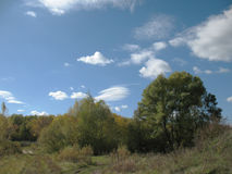 Autumn. Beginning of autumn, trees on a background blue sky with clouds Stock Images