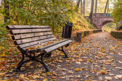 Autumn bench and path to the bridge. Full of yellow leafs Stock Photography