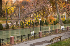 Autumn bench on a river bank Royalty Free Stock Photo