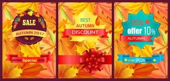 Autumn 2017 Best Sale Poster Vector Illustration. Autumn 2017 best sale poster with discount advert covered with golden yellow leaves. Vector illustration with Stock Photos
