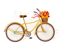 Autumn bicycle with colorful leaves. Royalty Free Stock Photography