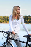 Autumn bicycling Stock Images