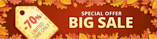 Autumn big sale banner horizontal, cartoon style royalty free illustration