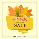 Autumn big sale banner for use in printing, posters, invitations. Web design and more. Vector illustration Royalty Free Stock Photography