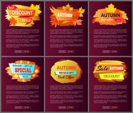 Autumn Big Sale 2017 Best Offer Special Discount. Autumn big sale 2017 best offer special price discounts on fall collection web banners with buttons read and Royalty Free Stock Photo