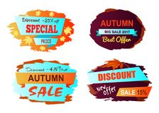 Autumn Big Sale Best Offer Vector Illustration. Autumn big sale 2017 best offer, special price, collection of labels with foliage, ribbons and decorated Stock Photos