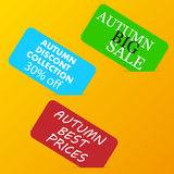 Autumn big sale color advertising paper cards Royalty Free Stock Photos