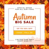 Autumn big sale design with a pile of dry leaves illustration background. Fall discount for online shop flyer promotion. vector illustration