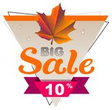 Autumn big sale 10 percent discount coupon. Yellow maple leaf. Isolated on white vector illustration stock illustration