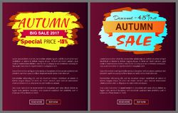 Only Today Autumn Sale -35 Advert Promo Poster. Autumn big sale 2017 special price -15 advetr promo posters with labels and place for text, web page design with Stock Photography
