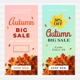 Autumn big sale vector illustration. A pile of dry leaves background, up to 50% off text. Fall discount online shop banner. Flyer, poster, card, label design Stock Illustration
