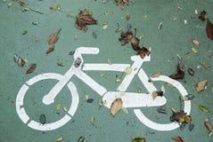 Autumn bike. Draw Autumn bike in bikeway. Salamanca, Spain,Europe Royalty Free Stock Image
