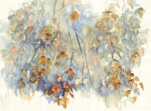 Autumn birch branches with leaves watercolor background royalty free illustration
