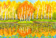 Autumn, birch forest and little island with birches, painting Stock Image