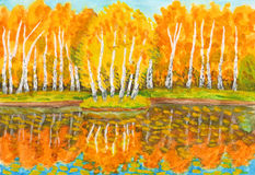 Autumn, birch forest and little island with birches, painting Stock Photography