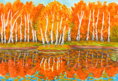 Autumn, birch forest and little island with birches, painting Royalty Free Stock Photography
