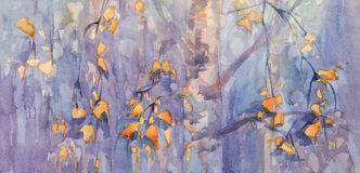 Autumn birch leaves watercolor Royalty Free Stock Photo