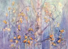 Autumn birch leaves watercolor Royalty Free Stock Photos