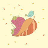 Autumn Bird. Autumn card with Heart made of leaf and grape and cute Bird Royalty Free Stock Image