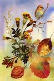Autumn bird. Hand drawn painting vector illustration