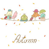 Autumn Bird migration. With five cute birds and their luggage Royalty Free Stock Photos