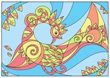 Autumn Bird-patroongebrandschilderd glas Stock Fotografie