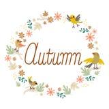 Autumn Birds Flowers Design Illustrazione Vettoriale