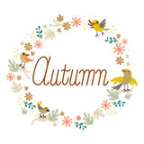 Autumn Birds Flowers Design Royalty Free Stock Images