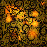 Autumn black lace. Abstract seamless pattern like as lace or cast-iron fence. Pattern can be used as wallpaper, web page background, textile design etc Royalty Free Stock Images