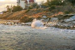 Autumn Black Sea de la costa del Primorsky fotos de archivo libres de regalías