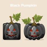 Autumn Black Square stilisierte Kürbis-Gemüse Lizenzfreies Stockfoto