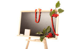 Autumn blackboard in studio with rowanberry Stock Photography