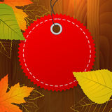 Autumn blank  label on wood background Royalty Free Stock Photo