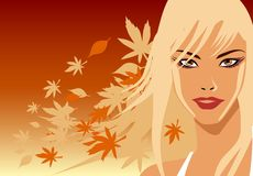Autumn Blonde. A female model with autumn leaves falling in the wind stock illustration