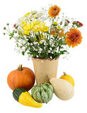 Autumn blooms and pumpkins Royalty Free Stock Images