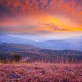 Autumn blue misty mountain at the sunset Stock Photography