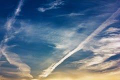Autumn blue sky and clouds Stock Photos
