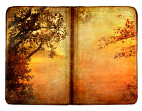 Autumn book. Old book with drawing of autumn nature Royalty Free Stock Photography