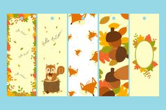 Autumn Bookmark Template Vector Set Photographie stock