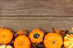 Autumn border against rustic old wood background Royalty Free Stock Photos