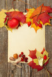 Autumn border - apples and fallen leaves Royalty Free Stock Photos
