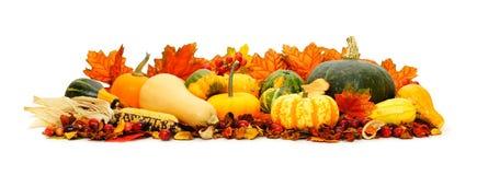 Autumn border. Border arrangement of autumn vegetables and leaves Stock Photo